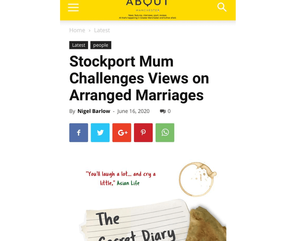 """Screenshot of article in About Manchester titled """"Stockport Mum challenges views on arranged marriages"""""""