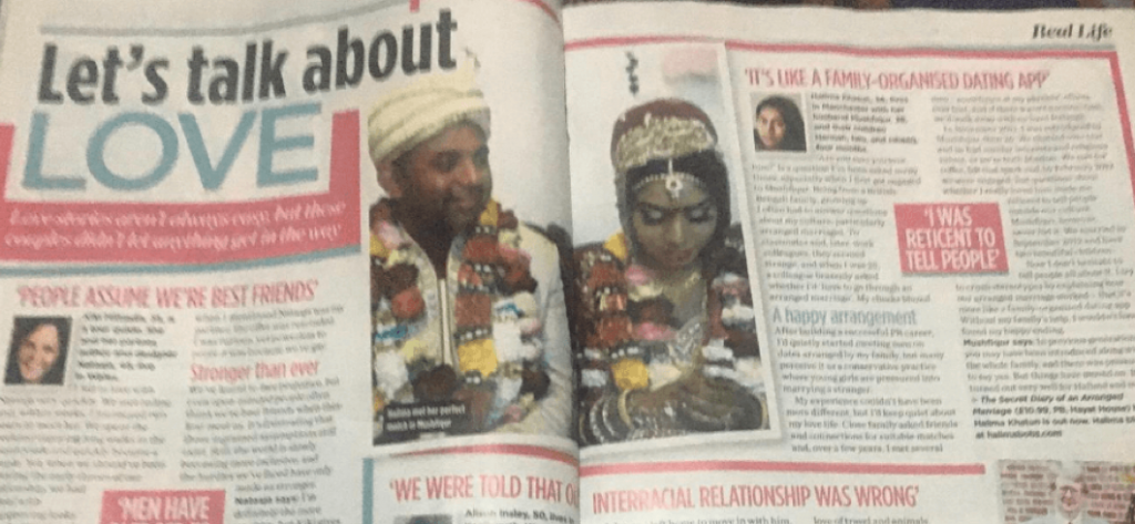"""Photo of double-page spread from """"real life"""" section of paper, article is titled """"Lets talk about love"""""""