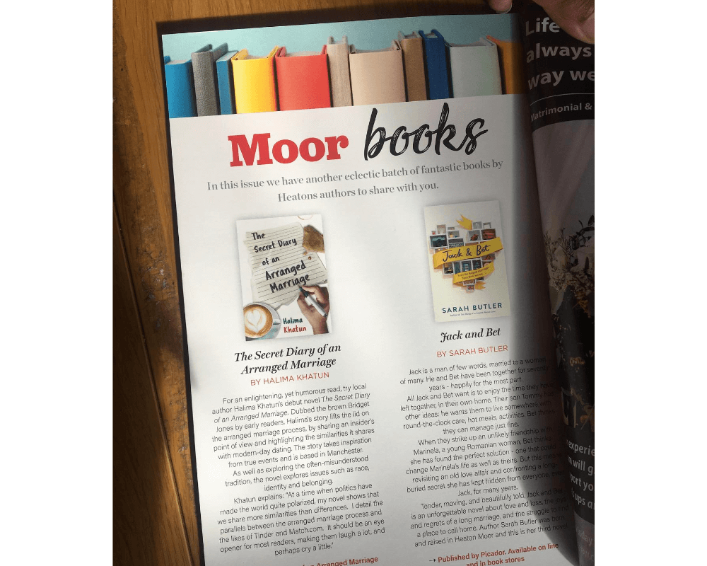 Photo of a page in Moor Magazine titled Moor Books showing a column devoted to The Secret Diary of an Arranged Marriage by Halima Khatun, beside another book review.