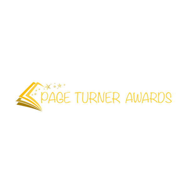 Page turner awards logo in gold with golden stars